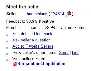 Bargainland eBay feedback