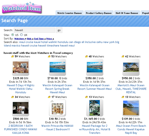 hawii most watched vacations on eBay